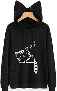 Cute Cat Sweatshirt Women Teen Girls Cat Printing Hoodie Pocket