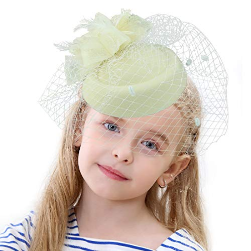 Sinamay Fascinator Flower Feather Fascinators for Women Pillbox Hat for Royal Wedding Deryby Party