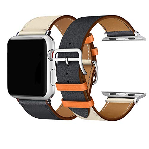 Price comparison product image CAILIN Band for Apple Watch Series 1 Series 2 Series 3 Series 4,  Luxury Genuine Leather Smart Watch Band Strap (Indigo / Craie,  42mm Series3 / 2 / 1)
