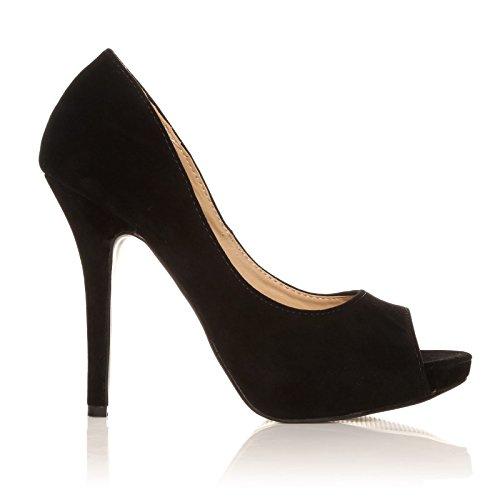 TIA - Chaussures à talons aiguilles - Plateforme - Bout ouvert - Noir - Effet daim Of61ea7y4