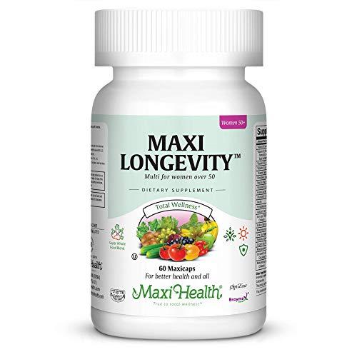 Maxi Health Longevity - Multivitamins & Minerals Supplement for Women Over 50-60 Capsules - Kosher (Best Garlic Capsules Uk)