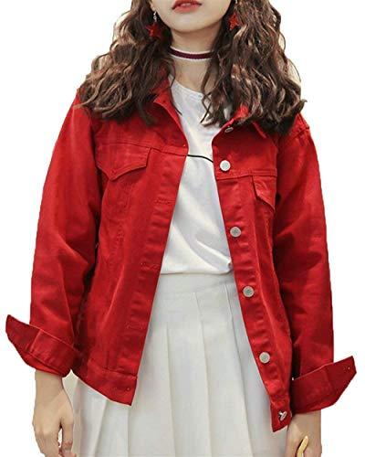 College Maniche Monocromo Cappotto Fashion Jacket Marca Mode Lunghe Donna Outwear Digitale Giacca Rot Sciolto Ragazze Primaverile Libero Autunno Giacche Jeans Bolawoo Di Tempo W0IgaqYg