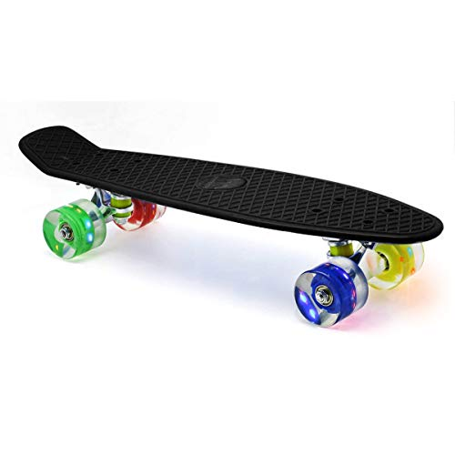 "Merkapa 22"" Complete Skateboard with Colorful LED Light Up Wheels for Beginners (Black)"