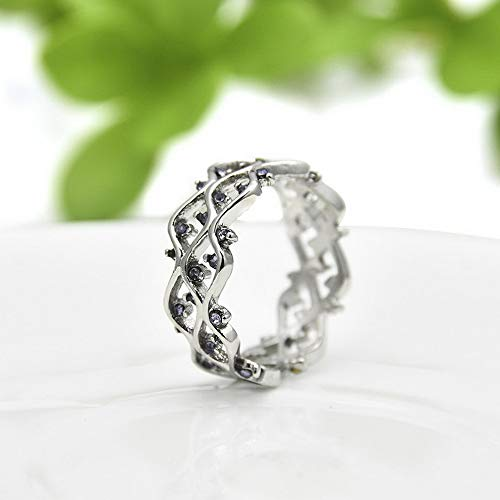 Wausa Fashion Women Silver Amethyst Engagement Wedding Rosebush Band Ring Size 6-10 W7 | Model RNG - 9815 | 8