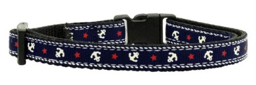 Mirage Pet Products Anchors Nylon Ribbon Collar for Cats, Blue