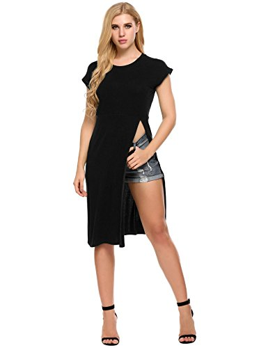 Women's Round Neck Casual Side Slits Long Tops (Black) - 4