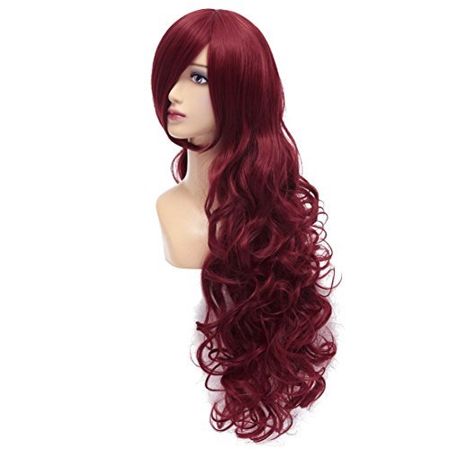 ICOSER Long Anime Cosplay Costume Curly Wigs for Women 80cm (Dark Red) (Make Your Own Poison Ivy Costume)