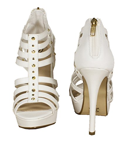Lustacious Womens Strappy Studded Peep Toe Ankle Platform Sandals with Back Zipper White Leatherette CfmCP