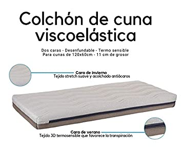 Colchon cuna 60x120 viscoelástico desenfundable dos caras Varias Medidas Fabricado en España (117x57 cm) SLEEPAA