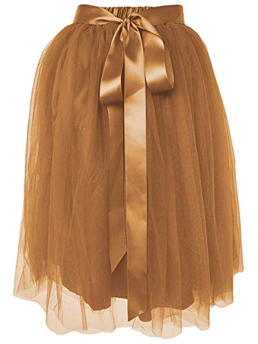Dancina Women's Knee Length Tutu A Line Layered Tulle Skirt Regular (Size 2-18) Coffee -