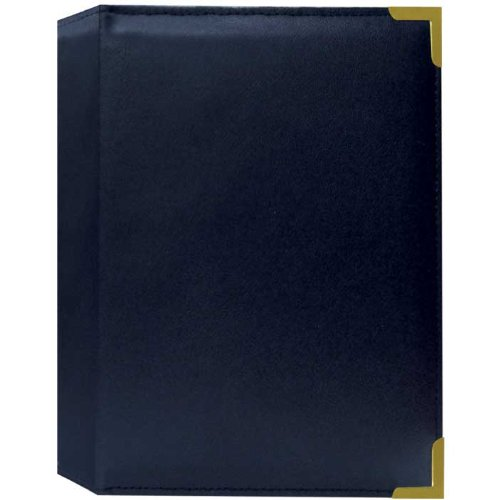 "Pioneer Mini Oxford Bound Photo Album, Solid Color Sewn Leatherette Covers with Brass Accent Corners, Holds 24 4x6"" Photos, 1 Per Page, Color: Navy Blue."