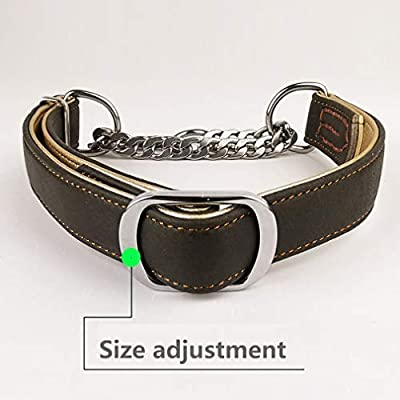 Fourhorse Leather Training Dog Collar, Martingale Collar, Stainless Steel Chain - for Small Medium Large Pets