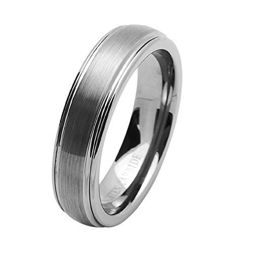6MM Comfort Fit Tungsten Carbide Wedding Band Brushed Dome (5 to 15), 10