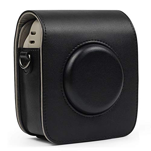 CAIUL Compatible Vintage PU Leather Square Case Bag for Fujifilm Instax Square SQ20 SQ10 Instant Film Camera (Black)