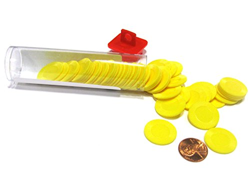 Set of 50 7/8 Easy Stacking Plastic Mini Playing Poker Chips - Yellow