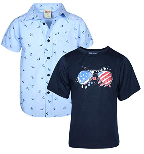 'Smith\'s American Boys Woven Button Down and Short Sleeve T-Shirt Set, Air Blue/Navy, Size 18/20'