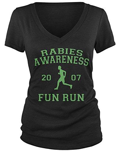 Amdesco Junior's The Office Rabies Awareness Fun Run 2007 V-Neck T-Shirt, Black Small