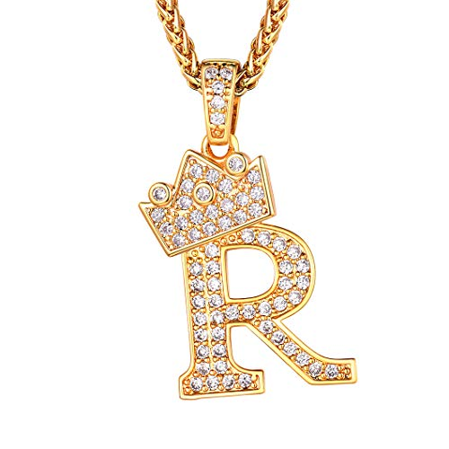 - Richsteel Crown Pendant for Men Initial R Hip Hop Ice Out Letter Necklace Monogram Jewelry King Kingdom Alphabet Charm with Chain 22''