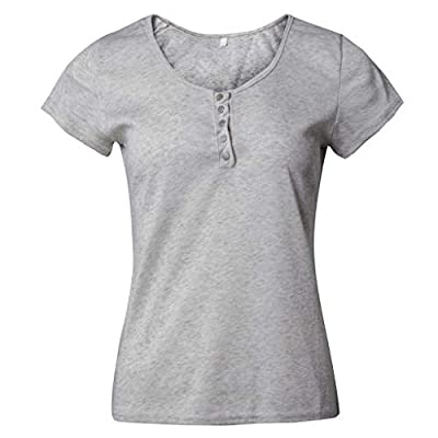 Shakumy Women Summer T-Shirt Top Henley Button Down Tunic Tee Casual V-Neck Plain Color Short Sleeve Blouses for Women at  Women's Clothing store