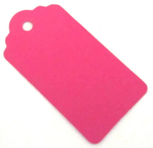 Pink Wedding Tag (20 Medium Gift Tags / Hang Tags / Wedding Favor Tags - Bright Pink (100% Recycled Card) - 67mm x 35mm)