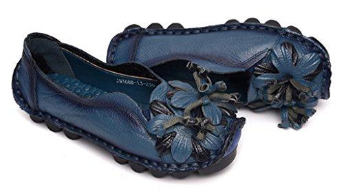 NEWZCERS - Mocasines de Piel para mujer Azul
