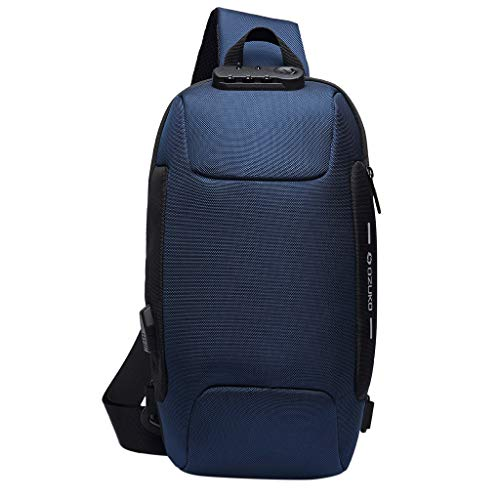 Men Anti Theft Travel Sling Bag,Crytech Multifunction Waterproof USB Shoulder Chest Backpack with Password Lock Lightweight Outdoor Casual Crossbody Oxford Cloth Daypack for Women (Blue)