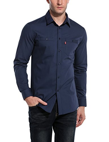 Bikeias Mens Oxford Cotton Slim Fit Casual Button-Down Shirts Long Sleeve (Dark Blue L)