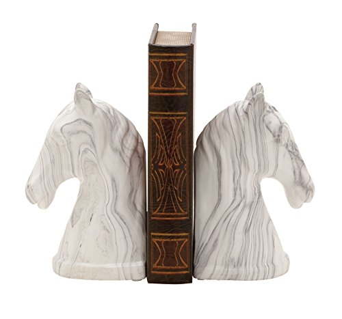 Deco 79 59717 Outstanding Ceramic Marble Finish Bookend Pair