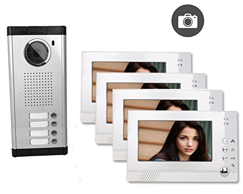 Four / 4 Units Apartment Video Intercom with Auto Visitor Photo Memory Doorbell Security Unlock IR Night Vision Four Unit