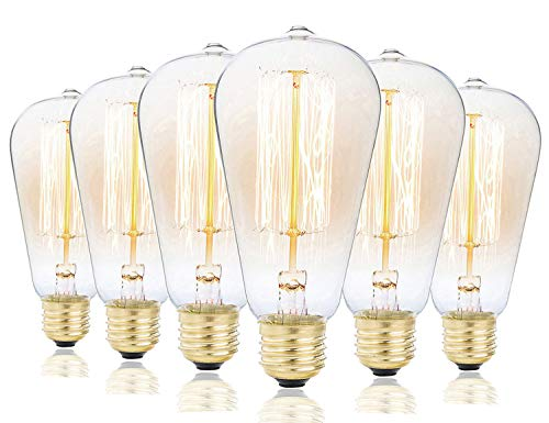 - 6-Pack Edison Light Bulbs, Rolay Clear Glass Antique Vintage Style Light, Amber Warm, Dimmable (60w/110v)