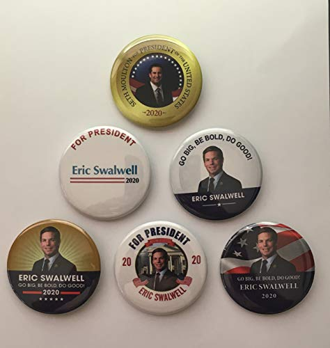 """Presidential Election Historical Center Eric Swalwell 2020 Campaign Buttons - Set of 6-2.25"""""""