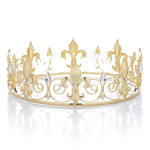 SWEETV Royal Full Round King Crown Crystal Tiara for Men Party Hats Costume Accessories, Gold