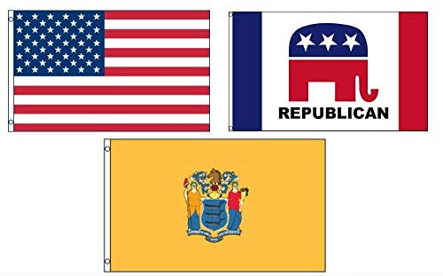 ALBATROS 3 ft x 5 ft American with Republican with State of New Jersey Set Flag for Home and Parades, Official Party, All Weather Indoors Outdoors
