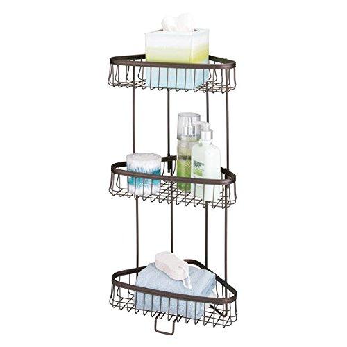 Freestanding Soap (mDesign Three-Tier Freestanding Wire Bathroom Storage Shelf for Lotion, Bar Soap, Hand Towels - Bronze)