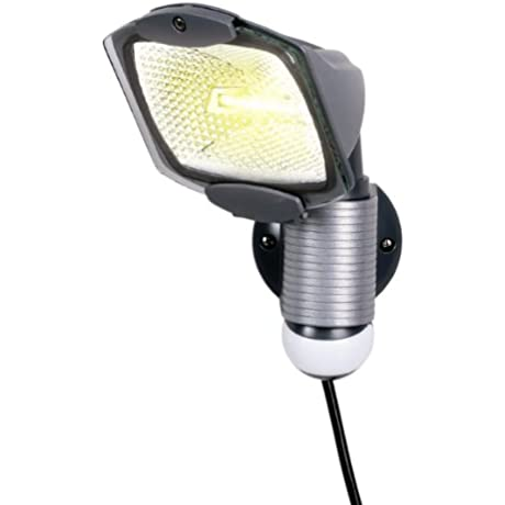 All Pro 110 Degree Outdoor Grey Quartz Halogen Motion Activated Plug In Security Light