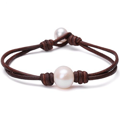 Single Cultured Freshwater Pearl Bracelet Handmade Leather Pearl Jewelry for Women by Aobei 7'' Brown (Freshwater Best Pearl)