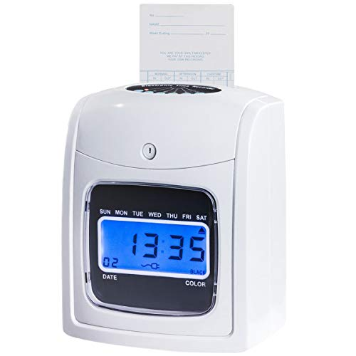 Goplus Electronic Time Attendance Clock, Employee Time Recorder, Punch Clock Machine Includes 200 Cards and 2 Time Cards Racks by Goplus (Image #6)