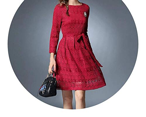Shining4U dresses Long Sleeved Black Lace Dress Vestidos Mujer Invierno 2018 Autumn Dress Kerst Damen K9276,X-Large,Red
