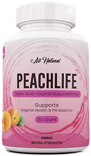 Boric Acid Vaginal Suppositories - 30 Capsules by Peachlife Inc - Made in  USA - Bacterial Vaginosis, Yeast Infection, Candida, UTI Support - Ultra