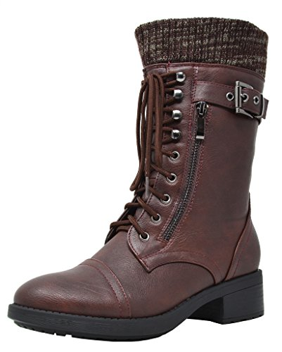 DREAM PAIRS Women's Amazon Burgundy Mid Calf Combat Riding Boots Size 5.5 M US