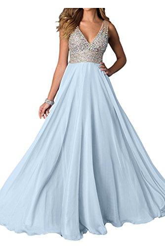 Zahlreichen La Mit Ausschnitt Abendkleider Jugendweihe Damen Braut Blau Kleider mia Partykleider Himmel V Burgundy Steine WFWHPSx