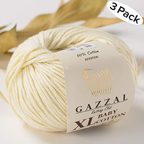 (3 Pack (Ball) Gazzal Baby Cotton XL Total 5.28 Oz / 344 Yrds, Each Ball 1.76 Oz (50g) / 114 Yrds (105m) Super Soft, DK- Worsted Baby Yarn, 50% Turkish Cotton, Beige - 3437)