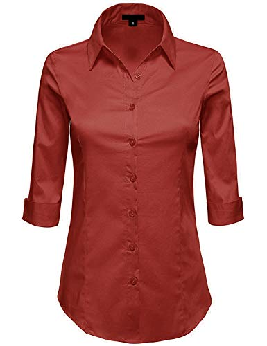 (MAYSIX APPAREL Womens 3/4 Sleeve Stretchy Button Down Collar Office Formal Shirt Blouse Brick)