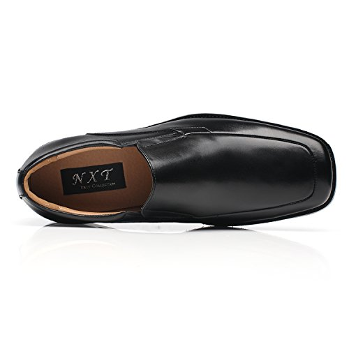 NXT NEW YORK Men's Leather Dress Shoes Slip On Square Toe Loafer Shoes Men Formal Comfortable Business Shoes