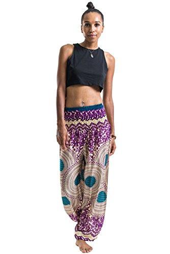 Harem Pants Unisex Geometric Mandala Harem Pants for Men & Women in Purple