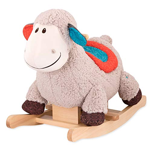 B. Toys - Loopsy Wooden Rocking Sheep - Rodeo Rocker - Plush Ride On Sheep Rocking Horse for Toddlers & Babies 18M+, Multicolor from B. toys by Battat