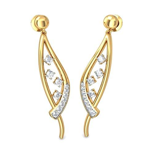 14K Or jaune 0.41carat au total White-diamond (IJ | SI) Pendants d'oreilles