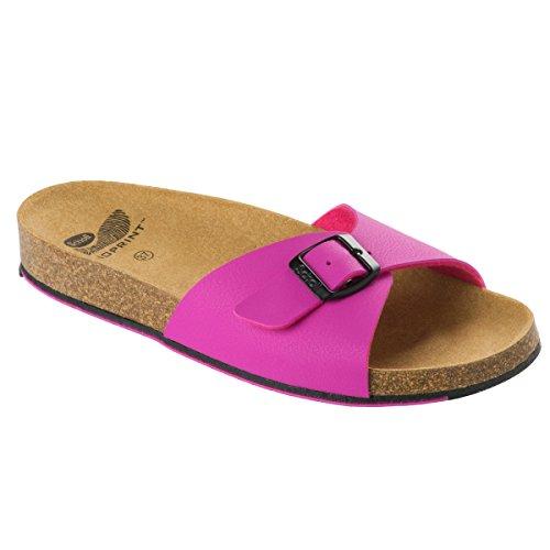 Spikey SS 4 F265642041 Fuchsia/Black Sandale Pantoletten Hausschuhe Damen Zehentreter Größe 41 (UK 7)