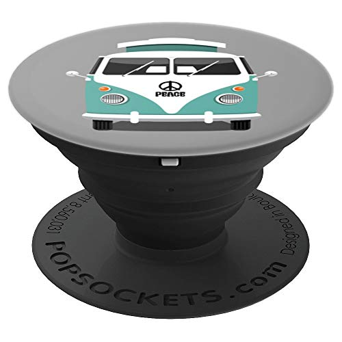 Retro Teal Hippie Van Vintage Road Trip Bus Surfing Van - PopSockets Grip and Stand for Phones and Tablets