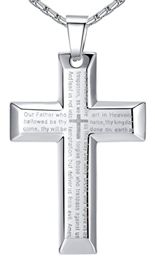 Aoiy Mens Stainless Steel Large Our Father Lords Prayer Cross Pendant Necklace, 23 Chain